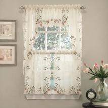 "Semi-Sheer Kitchen Curtain 24"" Tier Swag Valance Set Rosemary Floral Emb... - $35.69"