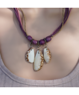 Violet necklace with a shells. Cord necklace. Shell pendant. Beaded necklace. - $9.00