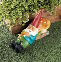 SLEEPY GNOME Solar Powered Garden Statue Outdoor Decor Lighted Butterfly - $27.45