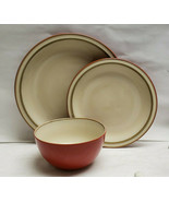 FLORIDA MARKETPLACE China ENTERTAINING Rust Red Pattern - 3 piece PLACE ... - $34.95