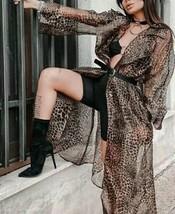New Organza Leopard Print Lapel Collar Flounce Sleeve Pocket Belt Coat T... - $56.69
