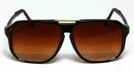 Retro Aviator Sunglasses Brown Vintage Flat Top Hip Hop Big Turbo Evidence - $12.60
