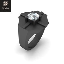1.10ct Diamond Solitaire Band Mens Wedding Jewelry Solid 18k Gold Gun Metal Fn  - $1,499.99