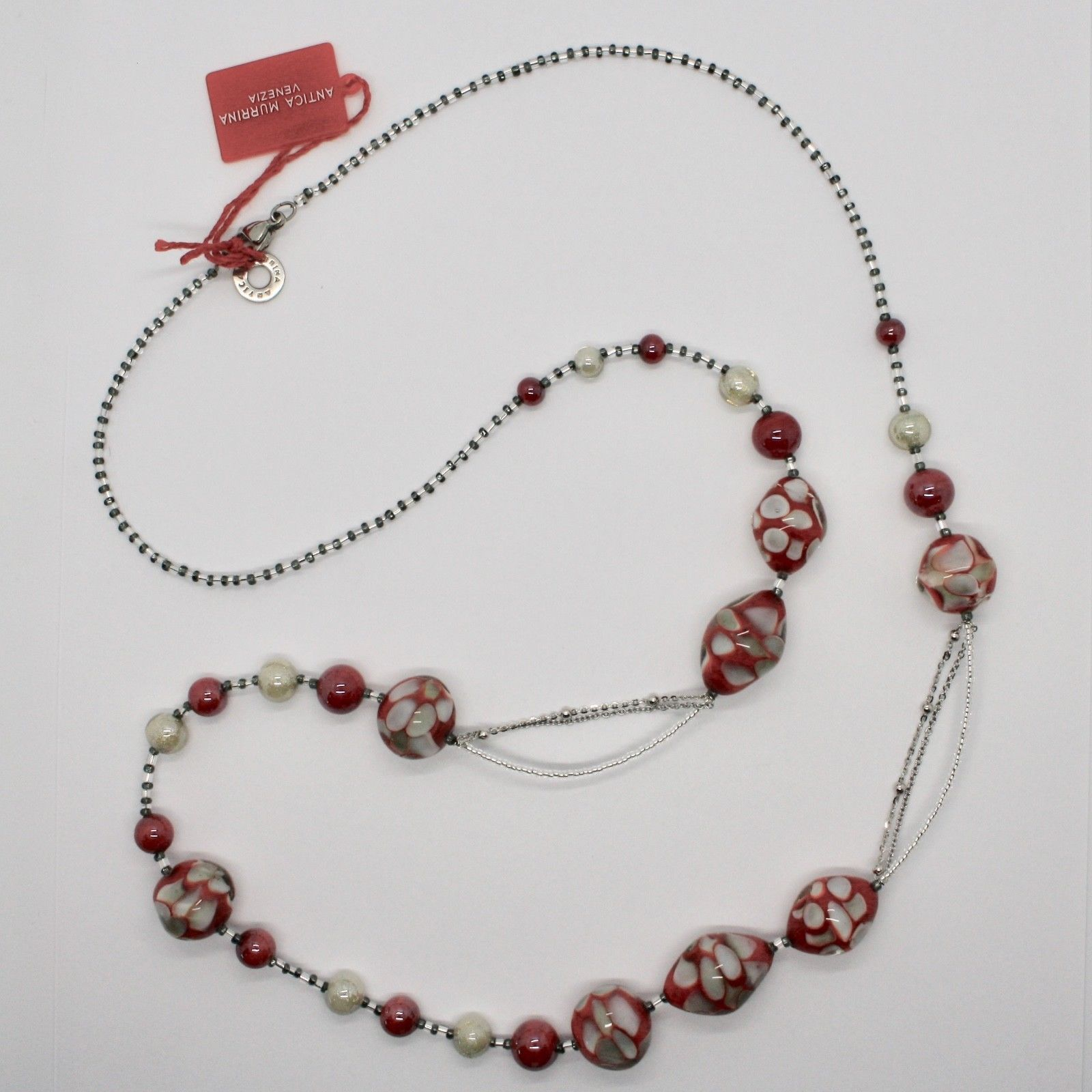 ANTICA MURRINA VENEZIA NECKLACE WITH MURANO GLASS RED BEIGE WHITE COA09A31
