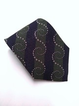 Vintage Armani Cravatte Green & Navy Silk Woven ChristmasTie Made In Italy  - $15.43