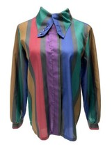 Vintage Cheryl Fiego women's striped blouse button front size 12 - $22.44