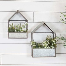 Set of 2 House Shaped Metal Planters Assorted Sizes Wall Mounted or Sitting - $115.95