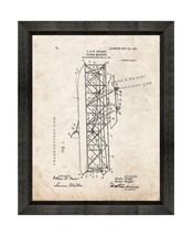 Flying-machine Patent Print Old Look with Beveled Wood Frame - $24.95+