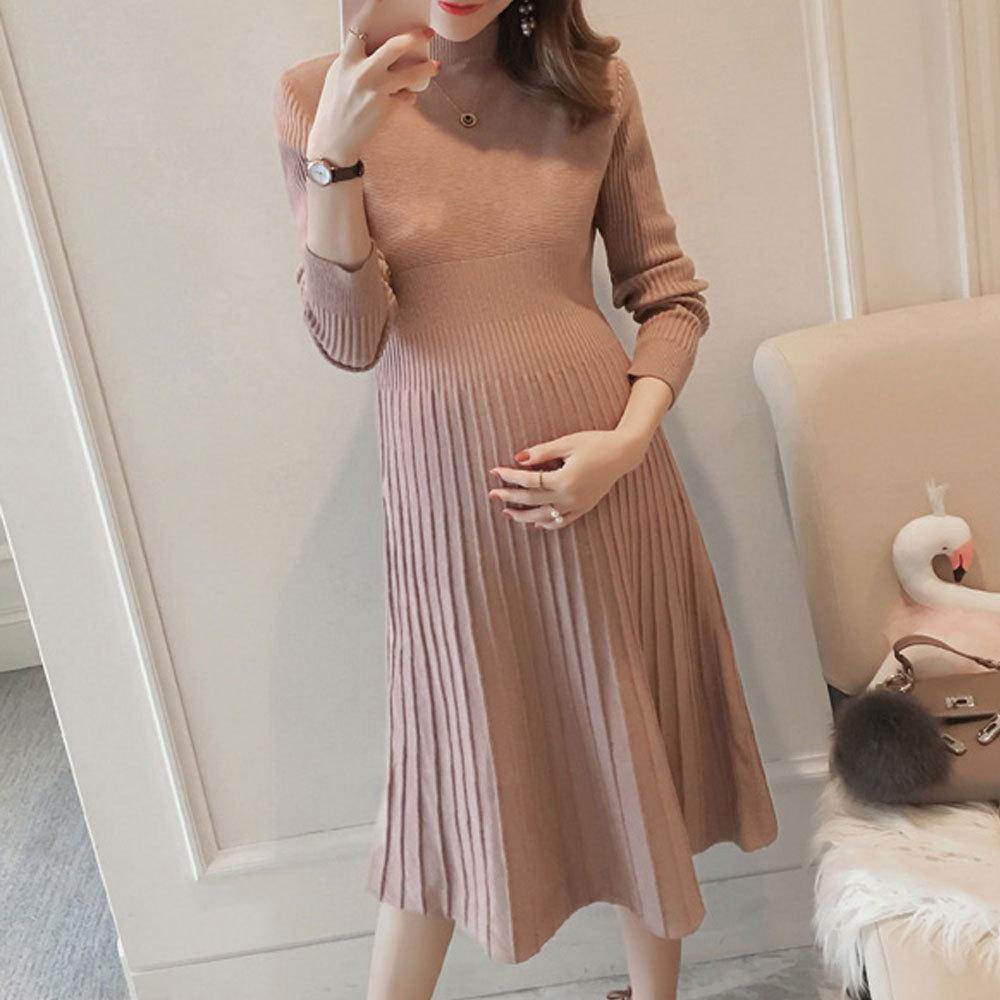 Maternity's Aline Dress Slim Long Sleeve Solid Color Dress image 2