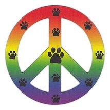 Refrigerator Magnet - Peace Sign (See Through) - Rainbow Design w/Paw Pr... - $6.99