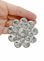 """2.5"""" Diameter Large  Clear Acrylic Crystals Cluster Flower Statement Bro... - $18.05"""