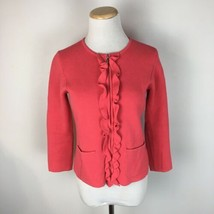 Talbots Women's Coral Ruffled Full Zip Knit Sweater Blazer Jacket Size P... - $22.76