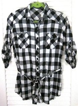 FOREVER 21 Lumberjack Buffalo Plaid Button Down Belted Tunic Shirt sz L - $17.80