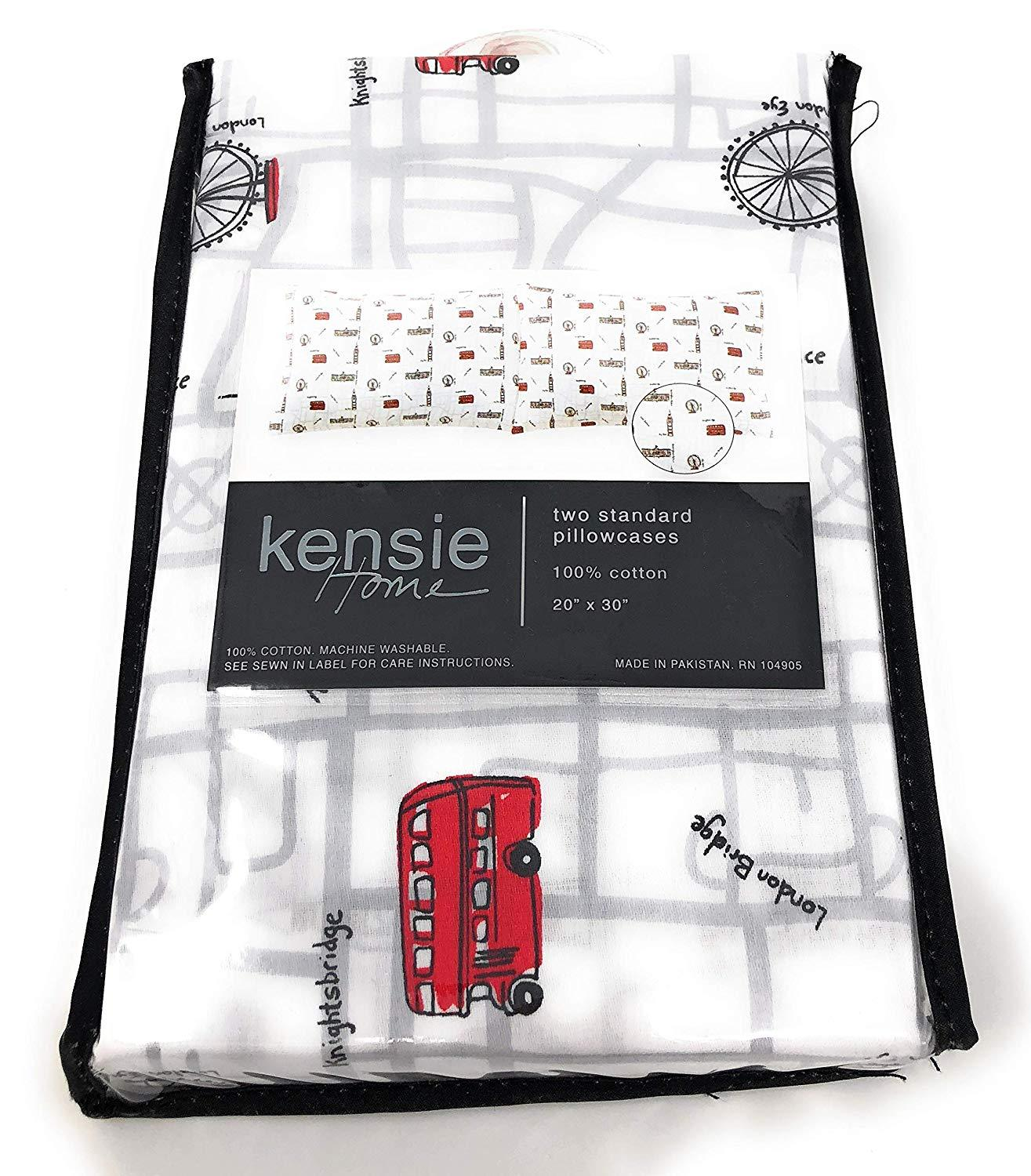 Kensie Home London Streets Map Sites Cotton Pillowcases Standard