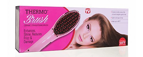Thermo Brush- Ceramic Straightening Brush- Enhances Shine, Reduces Frizz and Dam
