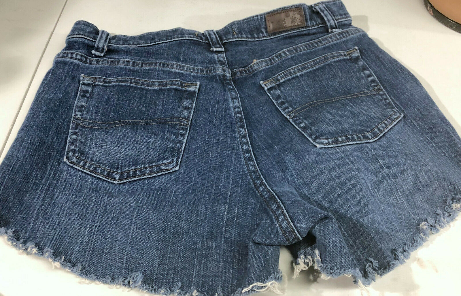 Lee Jeans Distressed Blue Jean Short Shorts Booty Size 8 Long image 4