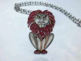"Large Red and Silver Color Lion Pendant, Long 20"" Silver-Tone Necklace 1... - $19.80"