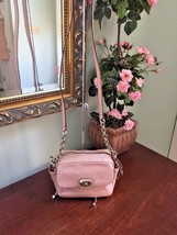 Coach Campbell Crossbody Bag Pink Blush Turn-lock Leather Chain F24843 B2 - $77.39