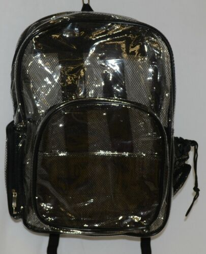 Unbranded Item Clear Netted Backpack Black Trim  Large Five Pockets
