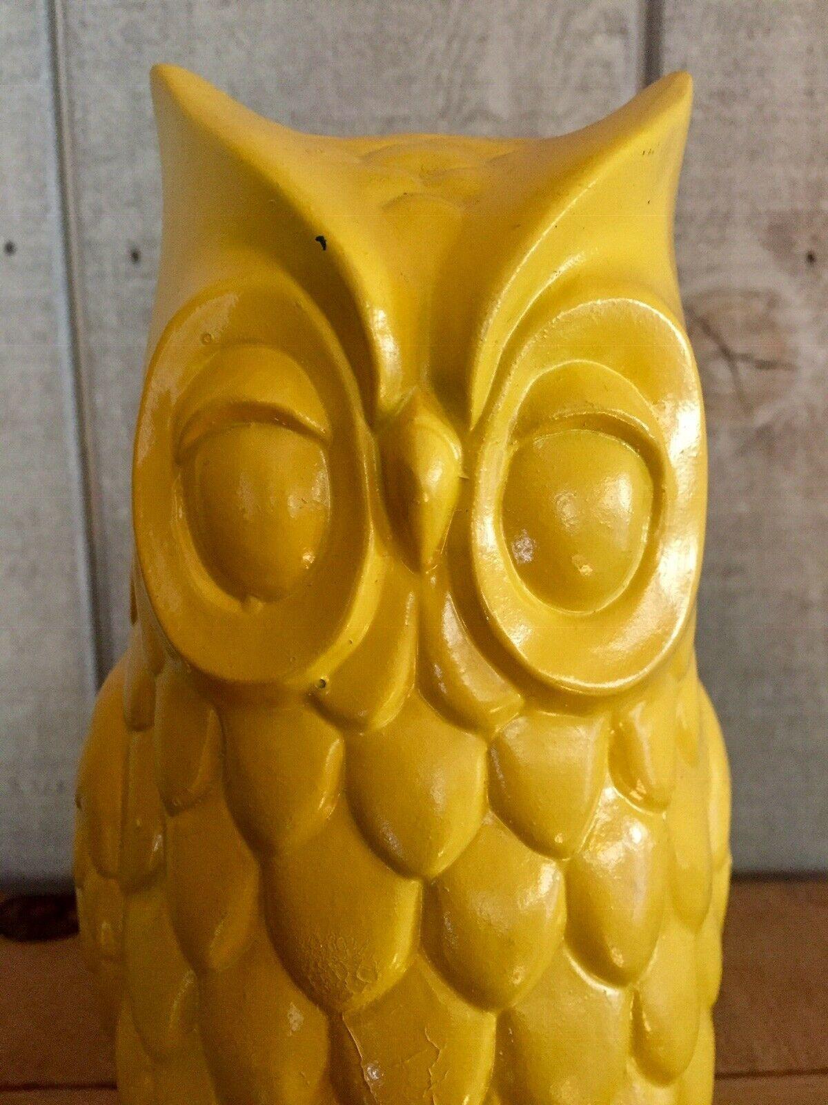 "Takahashi 9"" Vintage Mid Century Owl Ceramic Figurine Monochromatic Yellow Rare"