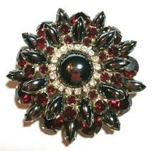 Large Juliana Red & Hematite Glass Rhinestone Layered Gold Tone Vintage Brooch - $128.00