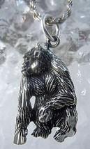 LOOK 2453 Gorilla Ape Monkey Sterling Silver charm pendant - $14.82