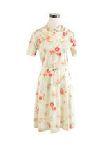 Light beige green floral print short sleeve stretch A-line dress S - $39.99