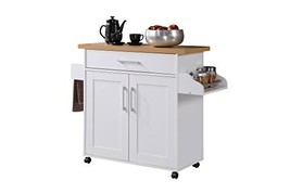 Hodedah Kitchen Island with Spice Rack, Towel Rack & Drawer, White with ... - $112.81