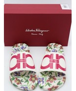 NIB Salvatore Ferragamo Groove FLW Floral Gancini Pool Slide Sandals New... - $195.00