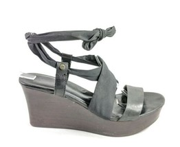 UGG Ankle Tie Wedge Sandal Women's Sz 6 US - 4.5 UK - 37 EU Black  (tu23ep) - $25.00