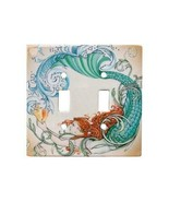 Redhead Mermaid Ceramic Double Switchplate Wall Floater Light Switch Cov... - $27.67