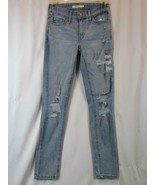 NWT Levis 711 Skinny Ankle 34 Light Blue Denim Ripped Jeans 18 W34 Insea... - $37.99