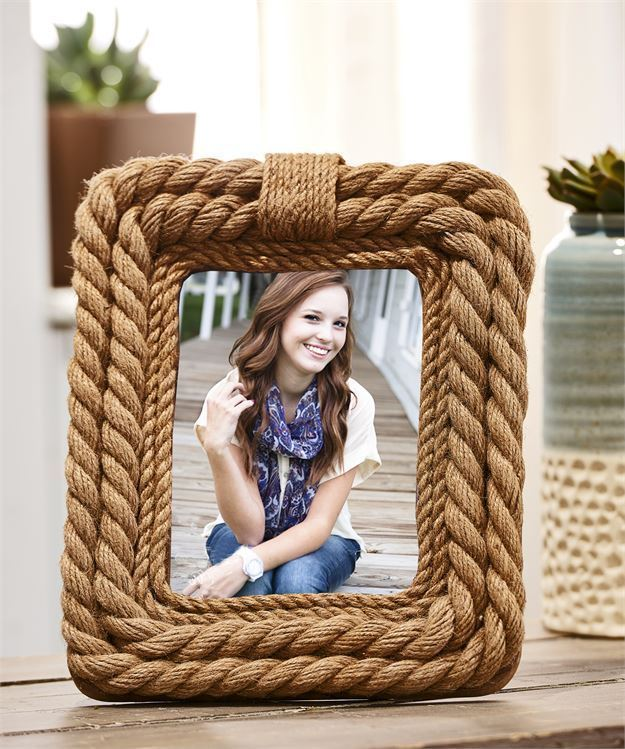"10.75""  Rope Nautical Design Photo Picture Frame Holds 5"" x 7"""