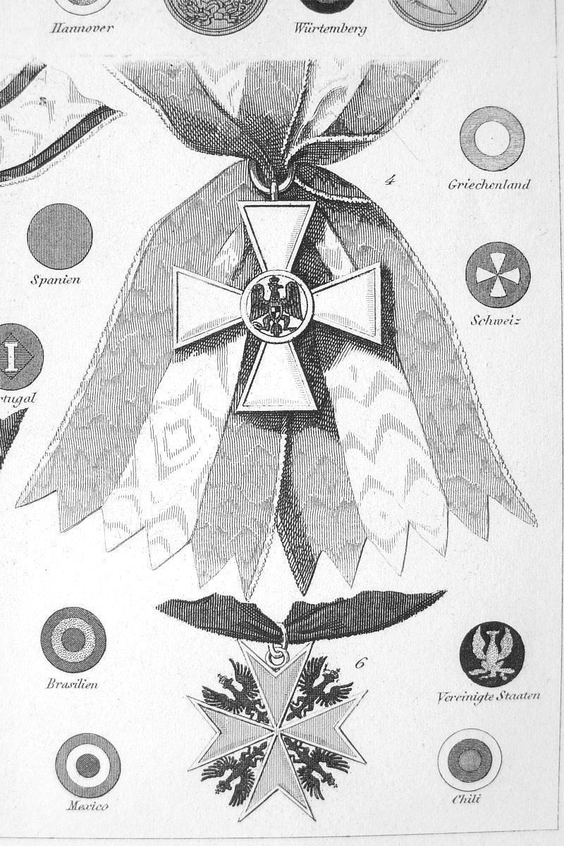 MILITARY ORDERS Crosses Austria Prussia Medals -1844 SUPERB Print Engraving