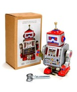 "TIN TOY ROBOT 4"" Wind Up Retro Vintage Style Silver Metal NIB Space Coll... - £10.46 GBP"