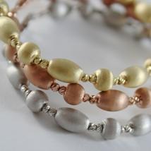 THREE 18K WHITE ROSE YELLOW GOLD BANGLE SATIN BRACELET BRACELETS MADE IN ITALY image 2
