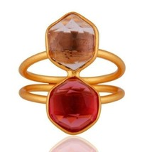 18K Gold Plated 925 Sterling Silver Amethyst Pink Corundum Gemstone Ring... - $20.00