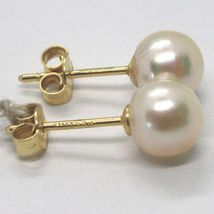 YELLOW GOLD EARRINGS 750 18K, WHITE PEARLS, FRESHWATER, POLE image 8