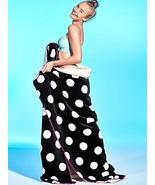 "Victoria's Secret PINK Polka Dot Soft Sherpa Plush Blanket 60"" X 72"" Bla... - $175.00"