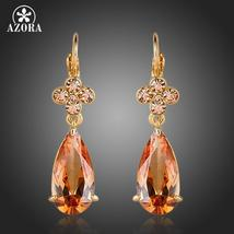 Charming Gold Color Water Drop Earrings Crystal Flower Cubic Zirconia - $13.95