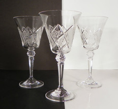 Vintage Crystal Wine Water Goblet (s) LOT OF 3 Ball Multisided Stem Star... - $21.73