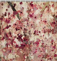 Pink Cherry Blossom Floral Fabric SHOWER CURTAIN Japanese Asian Flowers ... - $39.19