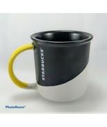 Starbucks Mug Coffee Ceramic Cup Black White Yellow Handle 12oz 2017 EUC - $19.79