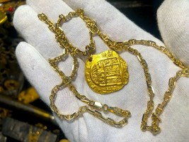 TREASURE JEWELRY NECKLACE SPAIN 4 ESCUDOS 1630-47 PENDANT PIRATE GOLD CO... - $5,950.00