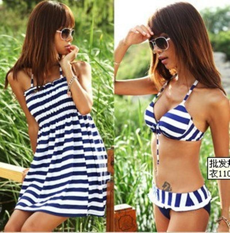 Women Bikini 3 Pieces Set Blue White Striped Cover Up Dress