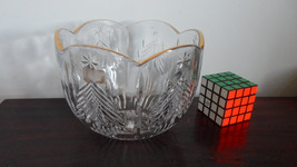 pressed glass fruit bowl christmas serving bowl - $27.00
