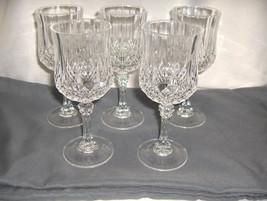 "5 Vintage Cristal d'Arques Longchamps 6.50"" Wine Goblets Lead Crystal NICE - $64.35"