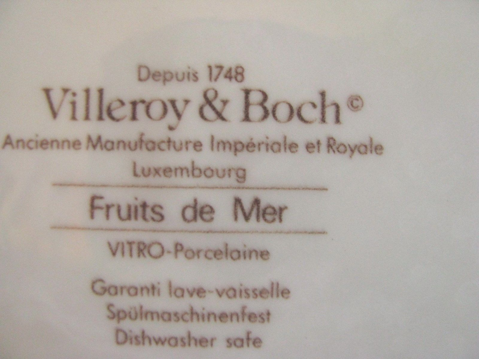 "2 VILLEROY & BOCH   Service Plate Charger  12""  FRUITS DE MER  retired"
