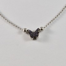 925 STERLING SILVER NECKLACE JACK&CO WITH BUTTERFLY ZIRCON CUBIC PURPLE JCN0607 image 2