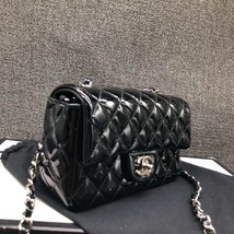 AUTH NEW Chanel BLACK Quilted PATENT LEATHER Large Mini 20CM Flap Bag SHW image 3